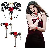 CHIFOOM 3 pezzi Collana Girocollo Gotica,Braccialetti Rosso Vintage Set Gioielli con Pendente Gotico Vampiro Gioielli…
