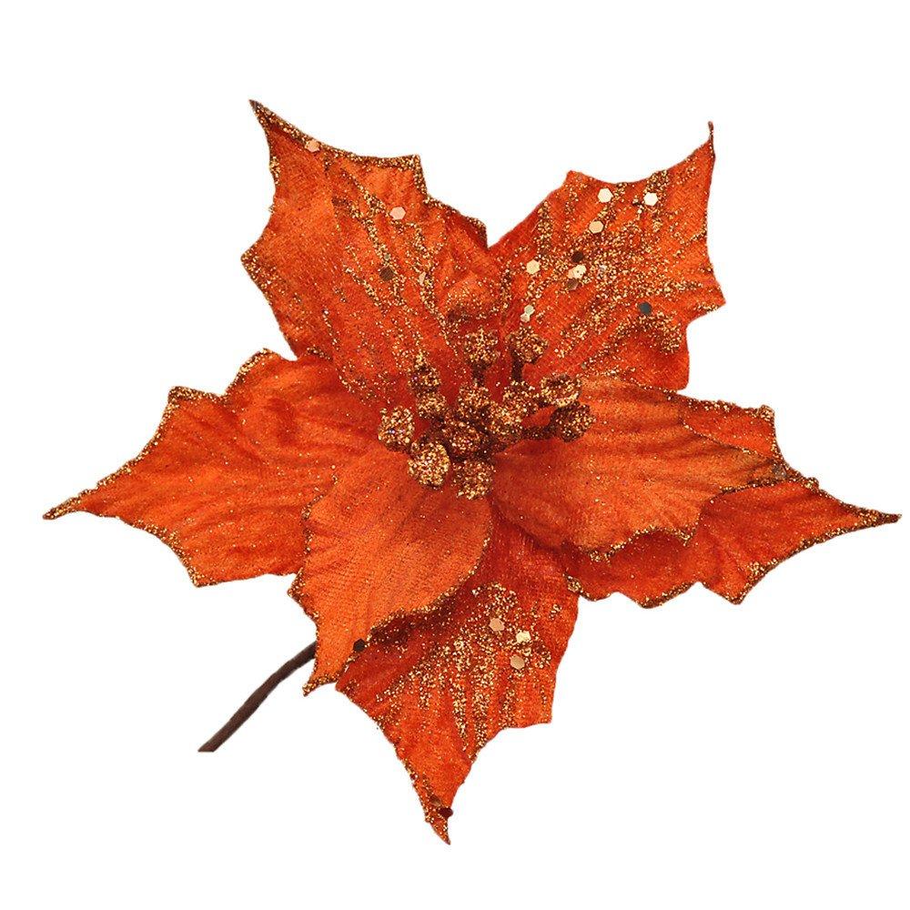 3 Piezas Purpurina Flor Artificial De Árbol De Navidad, Adornos Del Árbol De Navidad, Purpurina, Naranja Flor De Pascua…