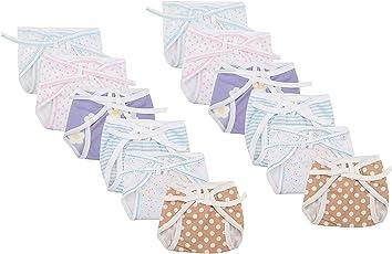 FARETO Newborn Baby Hosiery Cotton Cloth Nappies Pack Of 12 Pcs (Multi)(0-3Months)