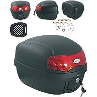 Moto Scooter Top Case 28 Lt Universel Plaque Adaptable Bagage Valise Noir