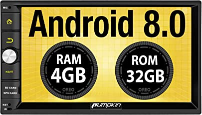 Pumpkin Android 8.0 Autoradio Moniceiver mit GPS Navi Unterstützt Bluetooth WLAN 4G DAB+ USB Android Auto MicroSD 2 Din Universal 7 Zoll 18cm Bildschirm