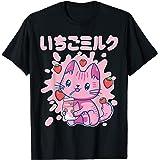 Chibi Kawaii Cat Chat Chatte Boisson Lait Fraise Japonaise T-Shirt