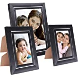 Amazon Brand - Solimo Collage Photo Frames, Set of 3, Tabletop (2 pcs - 5x7 inch, 1 pc - 8x10 inch), Black & Silver