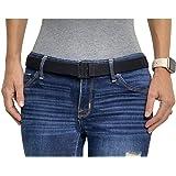 Adjustable Stretch Elastic Belt Women - No Show Flat Buckle Ladies Belts - Non- Slip Backing | Black Belts for Women