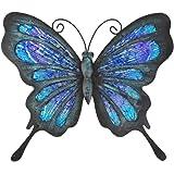 HONGLAND Decoración de pared de mariposa de metal al aire libre arte interior escultura colgante decoraciones de vidrio azul
