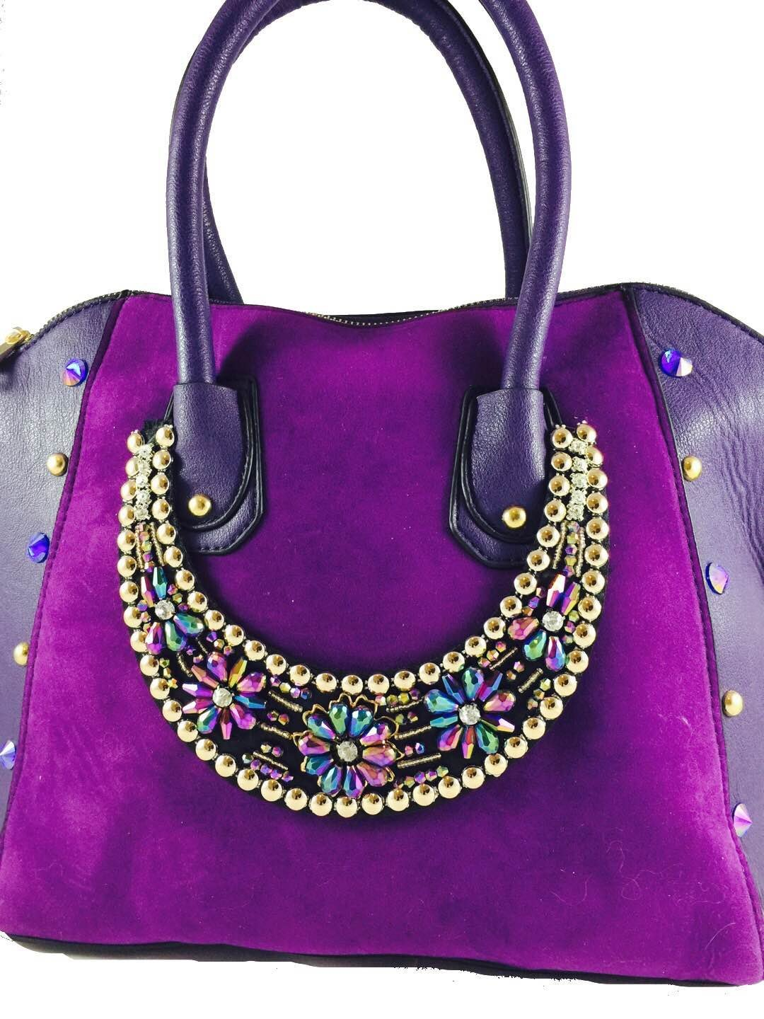 Purple embellished tote bag - handmade-bags