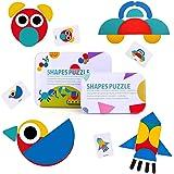 ZASCO Tangram Puzle de Madera Infantil, Juego Educativo de Mesa Montessori, Juguete para Aprender Inglés y Desarrollar la Cre