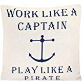 Grafelstein Kissenhülle Captain and Pirate Natur weiß blau maritim Kissen Long Island Anker