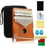 Kalimba 17 Clés Pouce Piano - Doigt Piano à pouce avec instruction d'étude et marteau d'accord, Piano portable en acajou bois