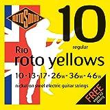Rotosound Roto Yellows Jeu de cordes pour guitare électrique Nickel Tirant regular (10 13 17 26 36 46), Pack de 7