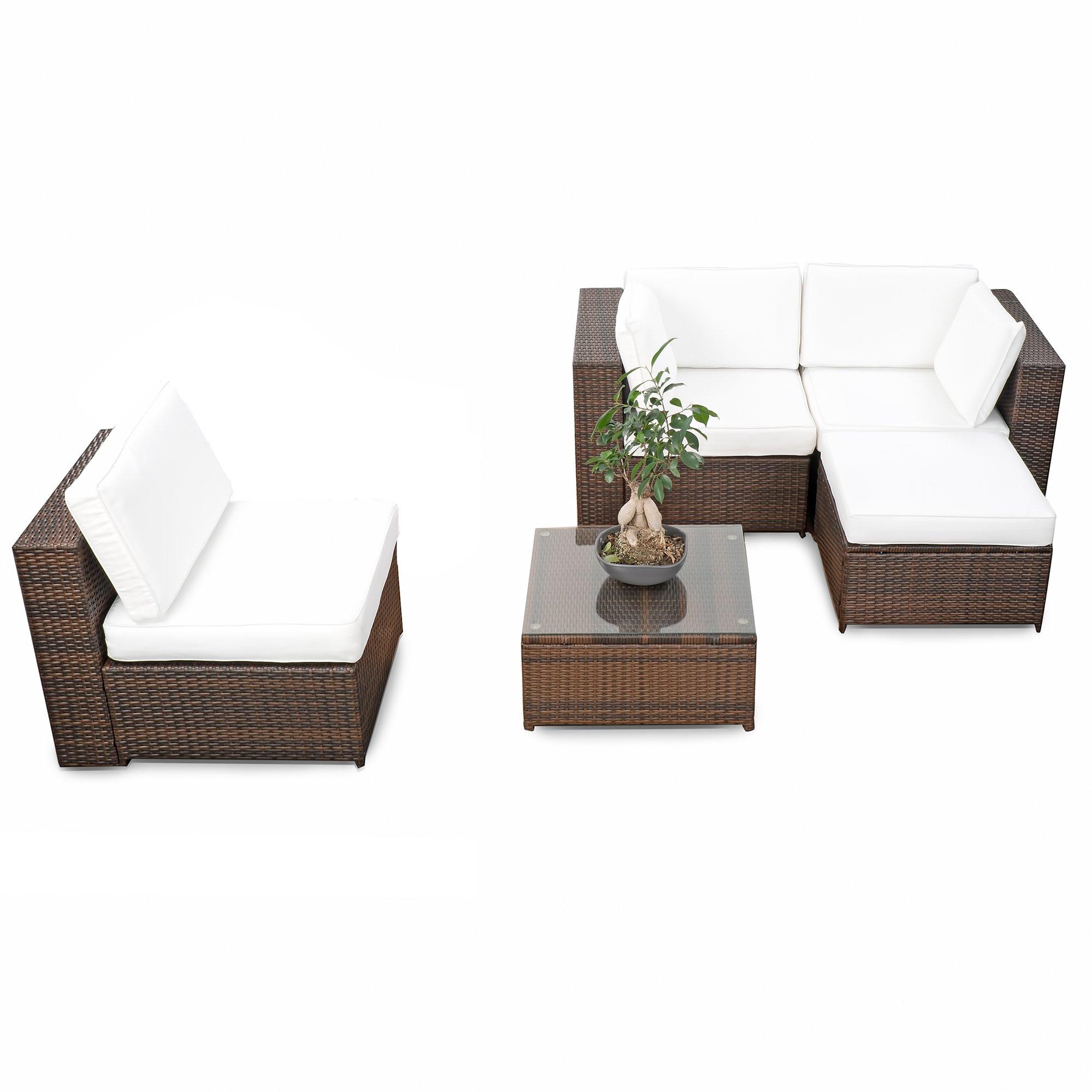 Xinro Erweiterbares 15tlg Balkon Polyrattan Lounge Ecke Braun