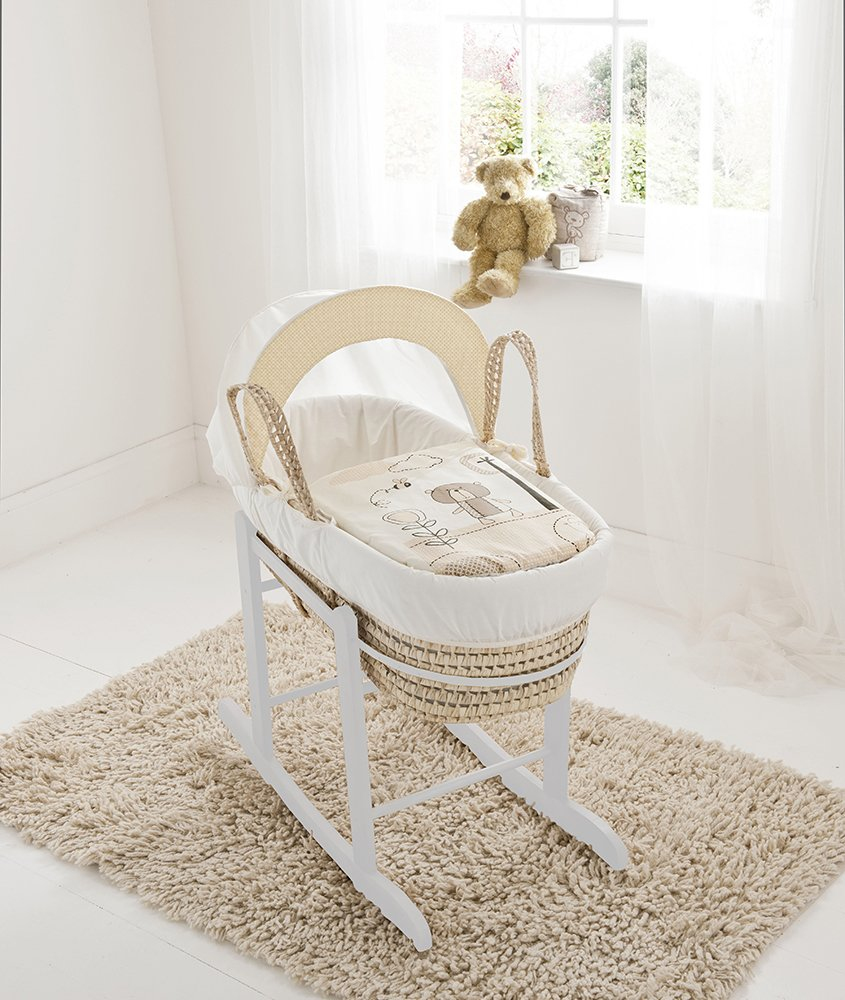 Beary Nice Cream Palm Moses Basket & Deluxe White Rocking Stand Elegant Baby Suitable from newborn for up to 9kg, this Moses Basket uses Easy-care Poly Cotton with a soft padding surround Suitable from newborn to 9 months It also includes a comfortable mattress and an adjustable hood perfect to create a cosy sleeping space for your precious little one 1
