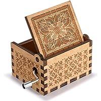 Boite a musique en bois avec manivelle, Cadeau de décoration boîte à musique en bois à manivelle en bois à motif créatif