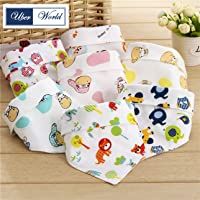 Uber World Cotton Bandana Baby Bibs, Two Layered, Cute Prints, Reinforced Edges (Multicolor, 6 Piece)