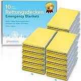 Premium Reddingsdeken van Urban Medical® | Reddingsfolie voor Eerste Hulp | 10 stuks | Goud / Zilver | 210 x 160 cm | Waterdi