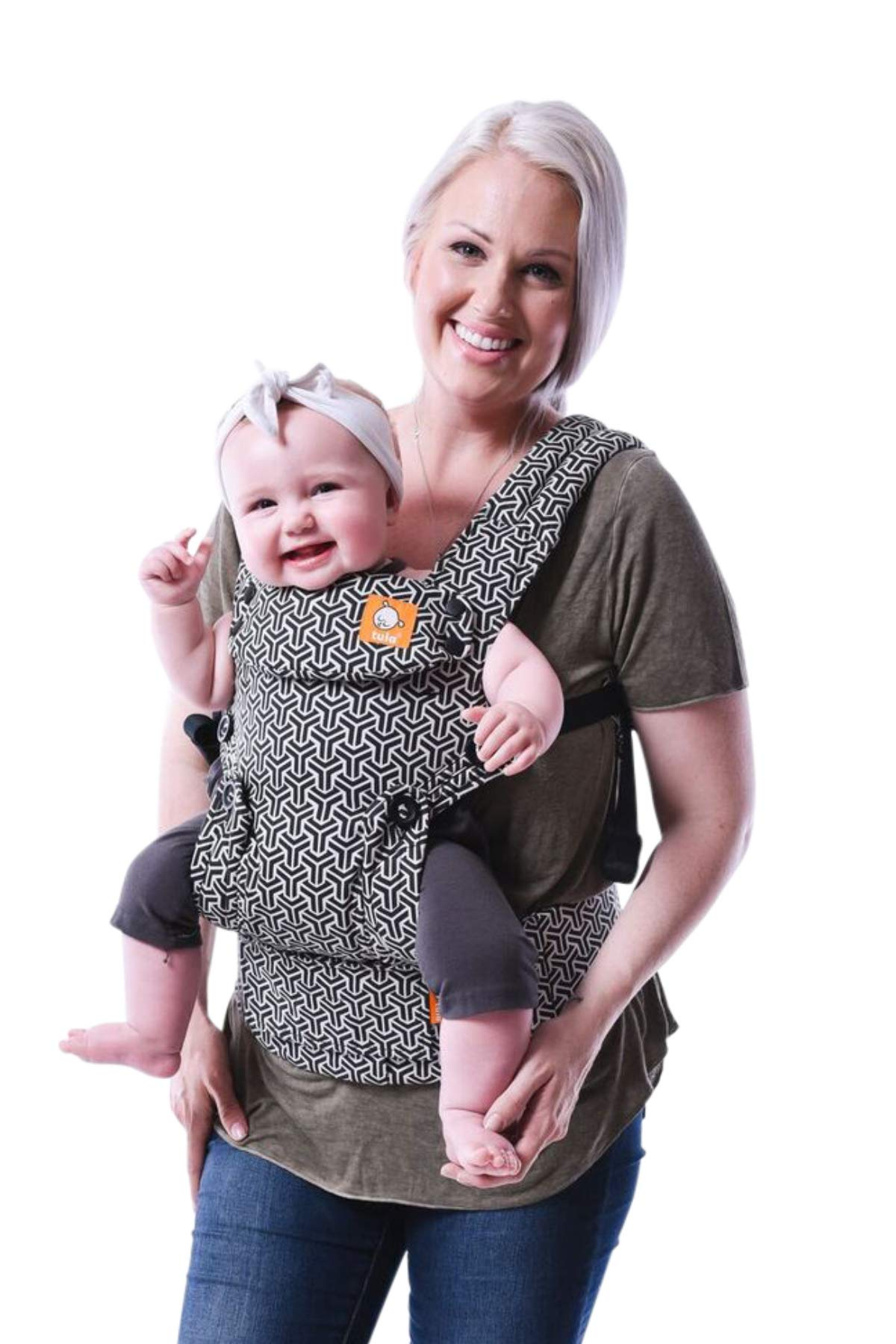 Baby Tula Explore Baby Carrier 3.2 - 20.4 kg, Adjustable Newborn to Toddler Carrier, Multiple Ergonomic Positions, Front and Back Carry, Easy-to-Use, Lightweight - Forever, Black/White Geometric Print Tula EVERY CARRY POSITION YOUR BABY WILL NEED, INCLUDING OUTWARD FACING: Multiple positions to carry baby including front facing out*, facing in, and back carry. Each position provides a natural, ergonomic position best for comfortable carrying that promotes healthy hip and spine development for baby. INNOVATIVE BODY PANEL WITH AN EASY-TO-ADJUST DESIGN: Adjusts in three width settings to find a perfect fit as baby grows from newborn to early toddlerhood. PADDED, ADJUSTABLE NECK SUPPORT PILLOW: Can be used in multiple positions to provide head and neck support for newborns and sleeping babies. 1