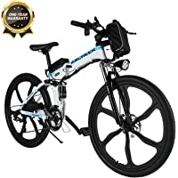 BIKFUN Vélo de Montagne Pliable pour vélo électrique, 26/20 pneus Vélo électrique pour vélo Ebike 250 W, Batterie au Lithium 36V 8Ah, Suspension Complète Premium, 21/7 Vitesses