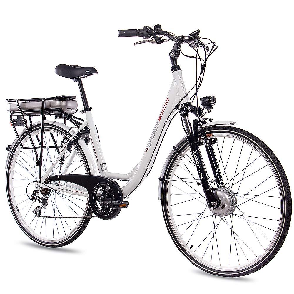 CHRISSON 28 Zoll E-Bike Trekking und City Bike für Damen – E-Lady Weiss mit 7 Gang Acera Kettenschaltung – Pedelec Damen mit Bafang Vorderradmotor 250W, 36V