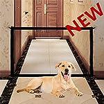 Joyevic Folding Safe Door Fence Cat and Dog Pet Fence Safety Isolation Network Protective Fence Mesh Black 1Set 180cm
