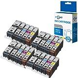 ECSC Compatible Encre Cartouche Remplacement Pour Canon Pixma iP3600 iP4600 iP4700 MP540 MP550 MP560 MP620 MP630 MP640 MP980 MP990 MX860 MX870 PGI520/CLI521 (BK/PBK/C/M/Y, 20-Pack)