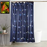 Kuber Industries Leaf Design 7 Feet Shower Curtain with 8 Hooks (Blue)-CTKTC030378