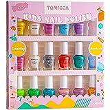TOMICCA Kit de manicura para niños, Rainbow Candy Colors no tóxicos, Esmalte de uñas natural seguro sin olor lavable, juego d