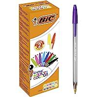 BIC Penne a Sfera, Cristal Multicolour, per Fornitura per Cancelleria Scuola e Ufficio, Punta Larga (1.6mm), Colori…