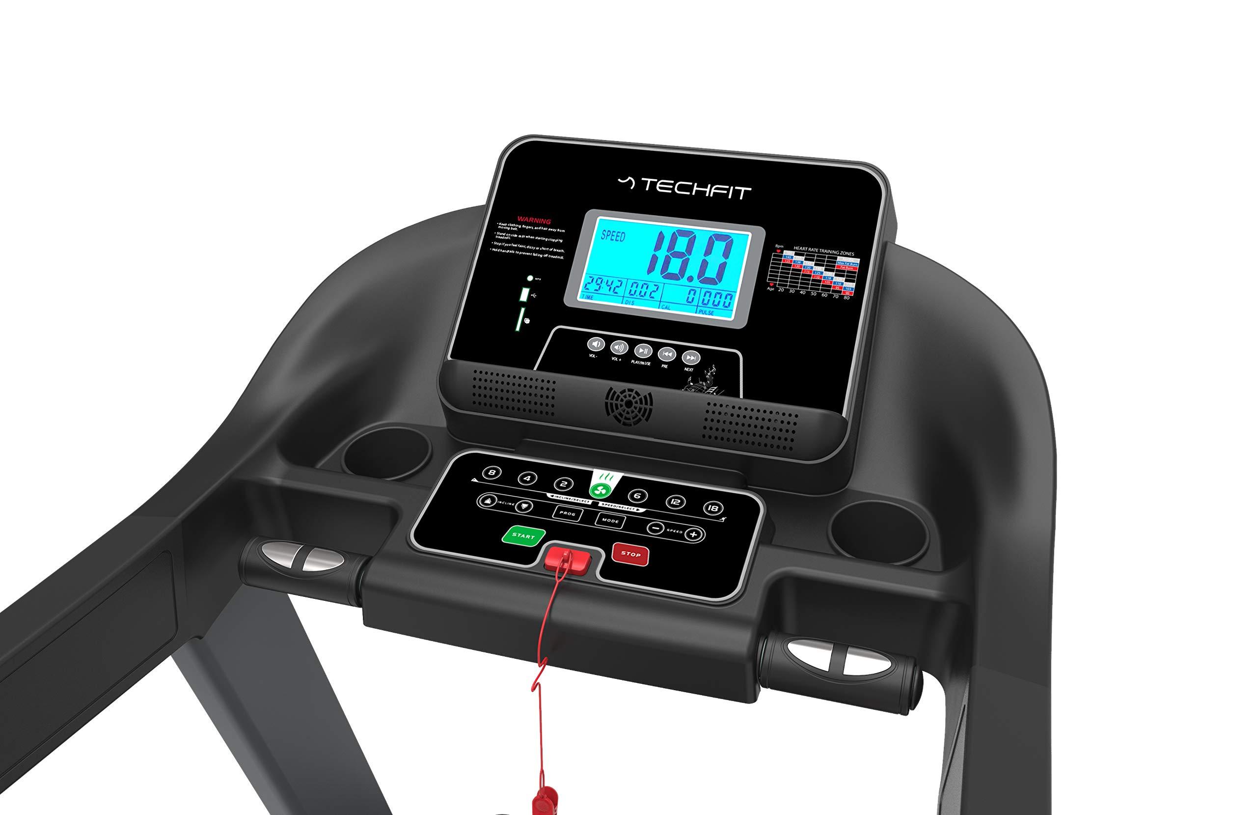 TechFit MT200 Tapis Roulant Professionale, Autolubrificazione, 5.0 HP, Fitness App, Bluetooth, Sistema di Piegatura… 5 spesavip