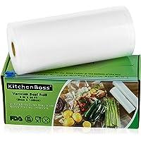 KitchenBoss Sac Sous Vide Alimentaire,1Rouleau 20cmx15M,Total 15 M,Rouleaux de Mise Sous Vide avec 1 Boîte de Coupe(Pas…