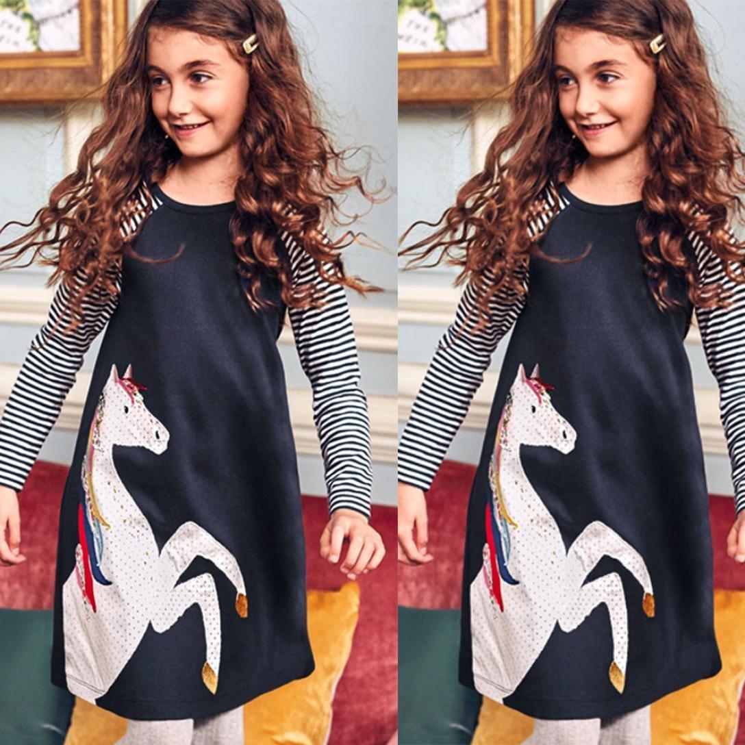 eeb52c0d9 Vestido Navidad Niña Falda Tul niña POLP Camiseta Casual Moda de Manga  Larga Vestido Niños Regalos para Niñas Otoño Manga Larga Rayas niña 2 años  niña ...