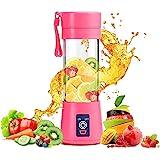 TIMESOON Portable Electric USB Juice Maker Juicer Bottle Blender Grinder Mixer,4 Blades Rechargeable Bottle with (Multi color