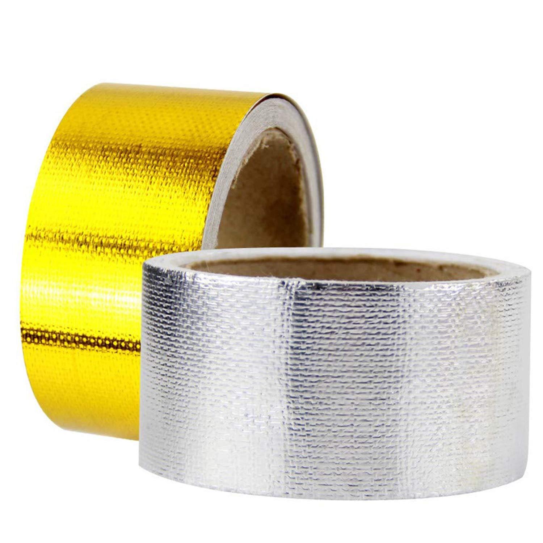 ZSYUN Tubo de admisión Cinta de Papel de Aluminio 5 m. Cinta de Papel de Aluminio. Cinta de Papel de Aluminio. Cinta autoadhesiva de protección de Alta Temperatura. (Color : Gold)