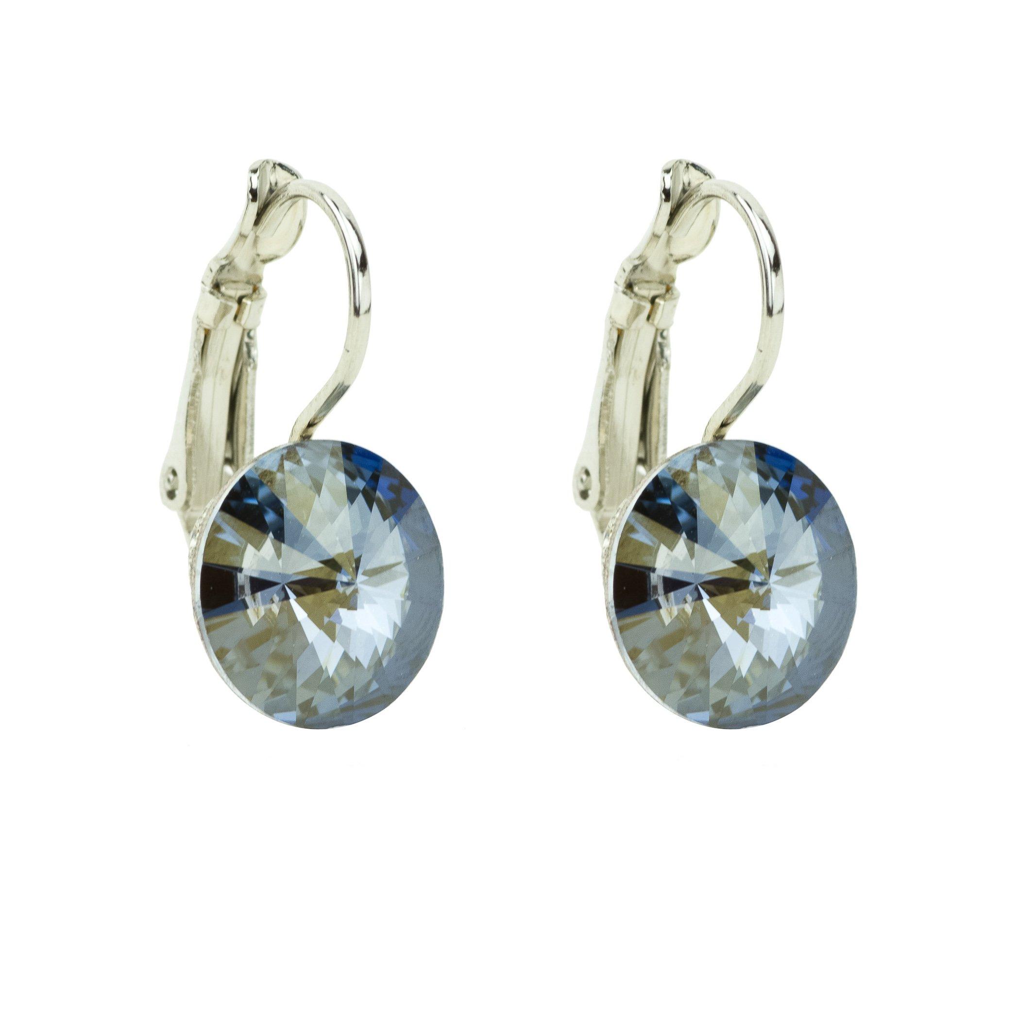 Eve S jewelry orecchini da donna con Swarovski Elements Crystal Blue Shade (10mm) placcati argento
