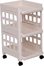 Urbancart Multipurpose Plastic Kitchen Trolley/Rolling Utility Storage Cart (Side Square)