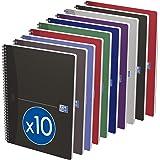 OXFORD Lot de 10 Cahiers Essentials A4 Grands Carreaux Seyès 100 Pages Reliure Spirale Couverture Carte Coloris Assortis