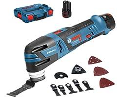 Bosch Professional 12V System sladdlös Multi-Cutter GOP 12V-28 (med 3,0Ah-batteri + snabbladdare, 1x deltaslipplatta, 5x sli