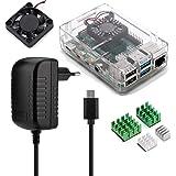 Aukru Kit 4-en-1 para Raspberry Pi 4 Modelo B, Incluye Caja Transparente, 5V 3A USB Tipo c Cargador Fuente de alimentación, d