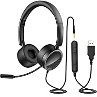 PC Headset mit Mikrofon, Nigecue USB/3,5mm Business Headset mit Noise Cancelling Mikrofon & Lautstärkeregler, Over Ear…