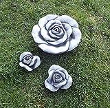 Steinfigur 3 x Stein Blüten Blume Set Frostfest Deko Steinguss Skulptur Rose Rosenblüte