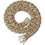 LC8 Jewelry Collar de lujo para hombre de 14 mm y 18 mm de ancho con diamantes brillantes coloridos CZ Miami Rainbow Cuban Li