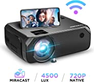 BOMAKER WiFi Video Projector, 4800 Lux Wireless Screen Mirroring Portable Projector, Full HD 1080p Home Movie Projector, Supp