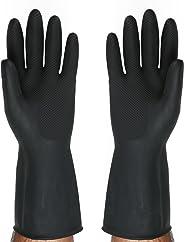 SAFEYURA® Multipurpose Non-Slip Rubber Reusable Gardening Dishwashing Scrubbing Cleaning Gloves (Color Black, Size: 9.5 Inch)