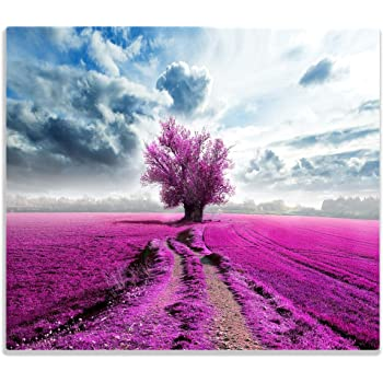 60x52cm Violette Herdabdeckplatte 1-teilig aus Glas Lila Blumenfreude