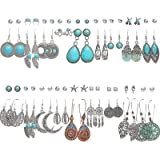 36 Pairs Fashion Vintage Simulated Turquoise Drop Dangle Earrings Set for Women Girls Boho Hollow Waterdrop Leave Feather Sil