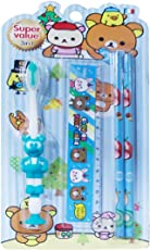 ToyS Factory Colgate Kids Boys and Girls Toothbrushes Soft Bristles Pencils and Scale (2-5 Years, 23x12x2cm, Blue, TOOTHBRUSH 3 IN 1)