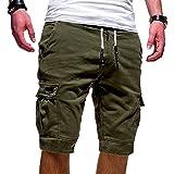 Socluer Pantaloncini Sportivi da Uomo Pantaloni Corti Estivi Bermuda da Shorts con Tasche Uomo Casual Loose Pantaloncini Carg