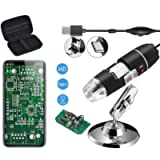 Jiusion Original 40-1000X USB Digital Microscope with Portable Carrying Case, Magnification Stereo Endoscope Camera 8…