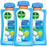 Dettol Body Wash and Shower Gel for Women and Men, Cool (Pack of 3-250ml each) | Soap-Free Bodywash | 12h Complete Odour Prot