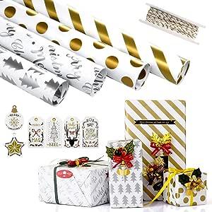 6 PCS Geschenkpapier Gefaltet Comius Sharp Geschenkpapier 2 Urlaub Babyparty + 2 Rolle Golden Organzaband f/ür Geburtstag Hochzeit Ostern oder Weihnachten Geschenkpapier