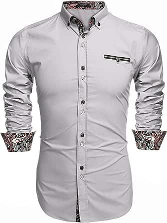 JINIDU Men's Casual Dress Shirt Button Down Shirts